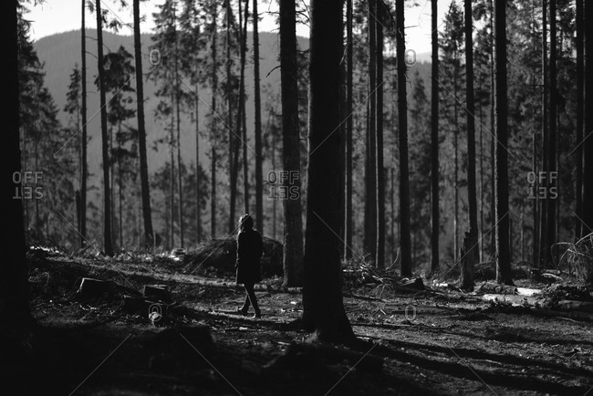 Woman walking through a clearing in an forest