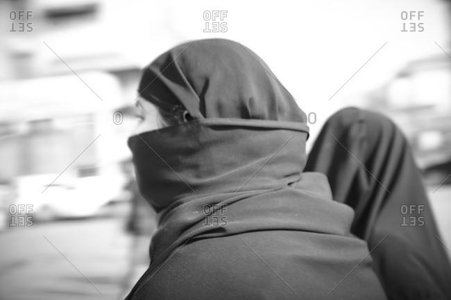 Delhi, India - November 18, 2012: Muslim women walking in India