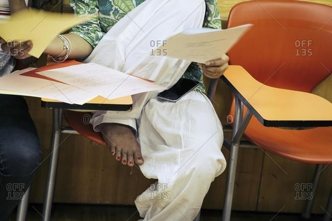 Student in a classroom, Delhi, India