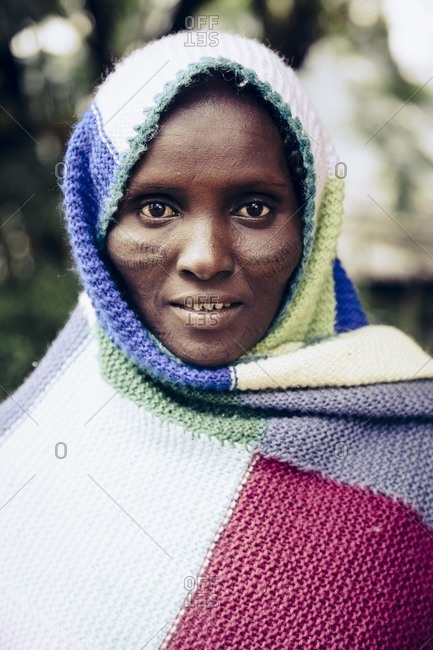 Addis Ababa, Ethiopia - November 25, 2010: Portrait of a young tribeswoman, Ethiopia