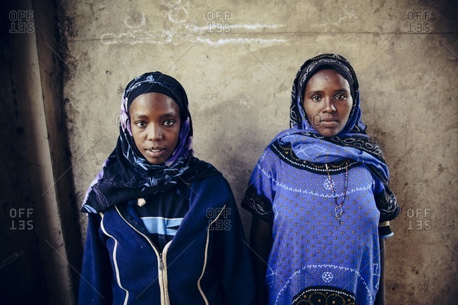 Addis Ababa, Ethiopia - November 27, 2010: Two young women, Addis Ababa, Ethiopia