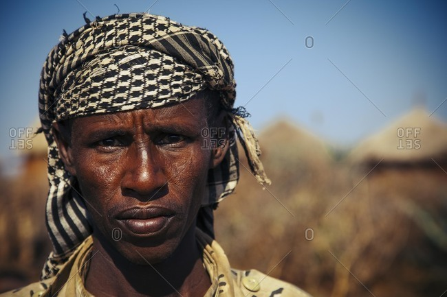 Ethiopia - November 28, 2010: Portrait of a young man at a village