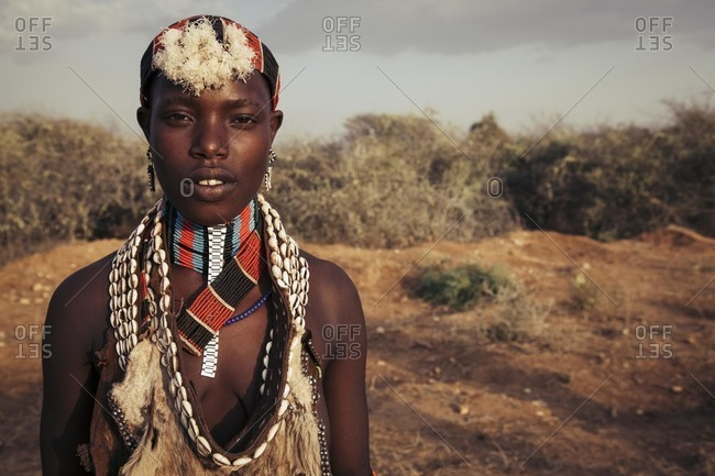 Omo River Valley, Southwestern Ethiopia - December 6, 2010: Portrait of young Hamar tribeswoman