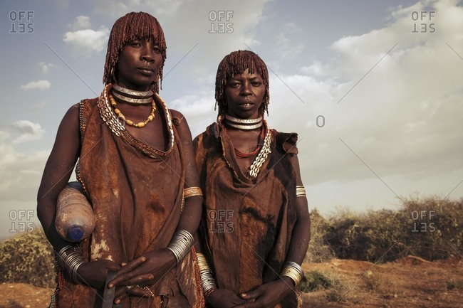 Omo River Valley, Southwestern Ethiopia - December 6, 2010: Portrait of Hamar tribeswomen