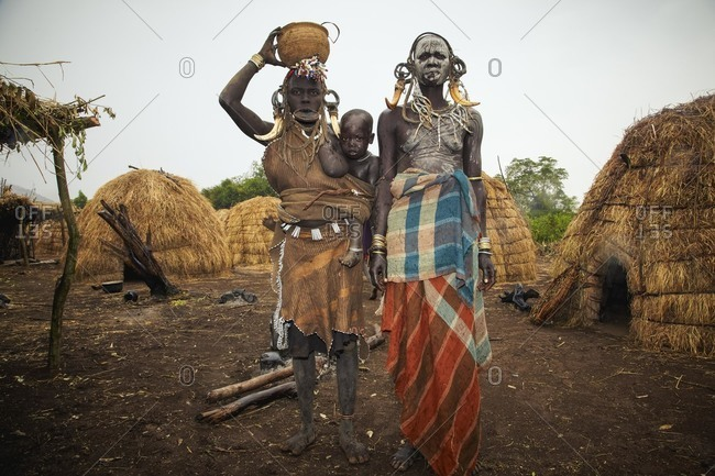 Omo Valley, Southern Ethiopia - December 8, 2010: Mursi tribeswomen from Ethiopia