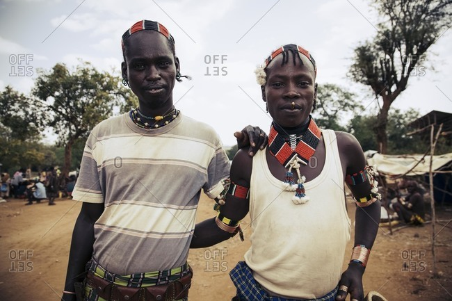 Omo Valley, Southern Ethiopia - December 7, 2010: Portrait of Hamar tribesmen