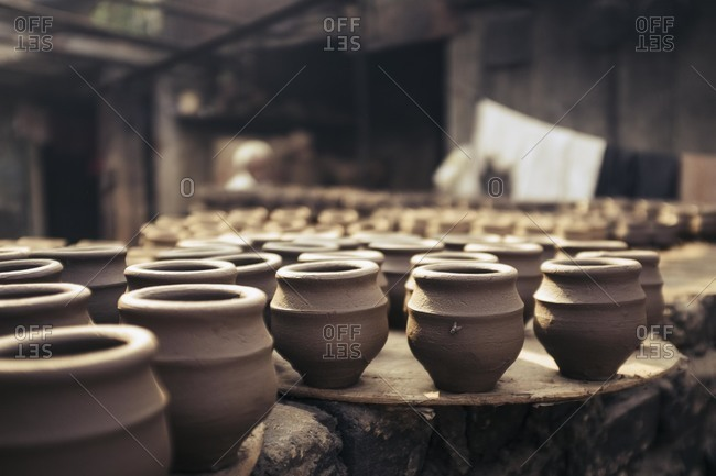 Ceramic pots drying in India