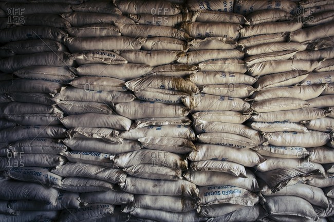 Bags of refined sugar, India