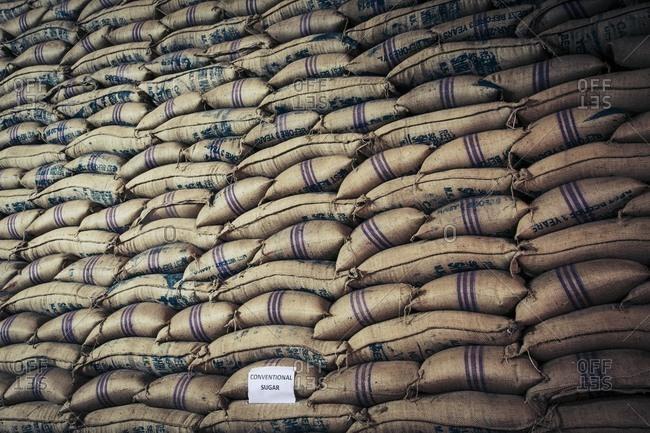 Sacks of refined sugar, India