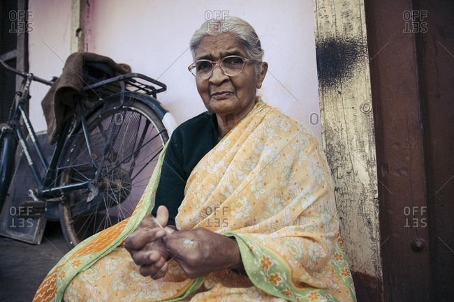 Bagalkot, Karnataka, India - November 25, 2014: Portrait of elderly Indian woman