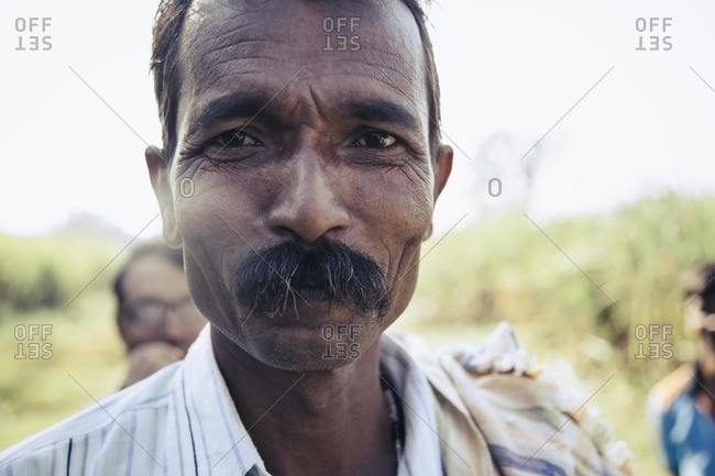 Bagalkot, Karnataka, India - November 25, 2014: Portrait of a sugar cane worker, India