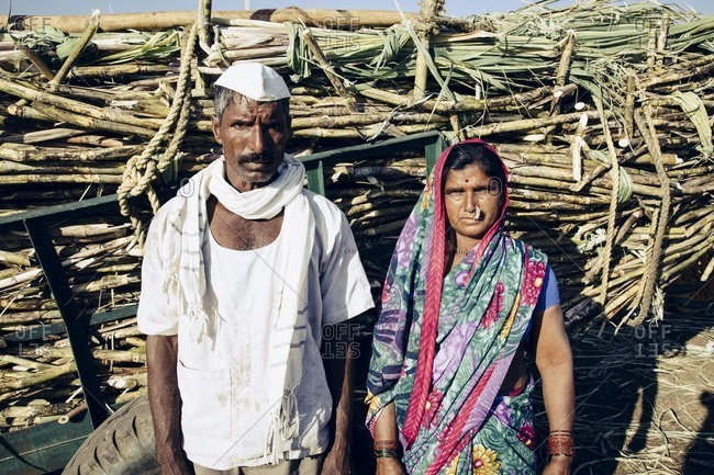 Bagalkot, Karnataka, India - December 1, 2014: Portrait of migrant sugarcane workers, India