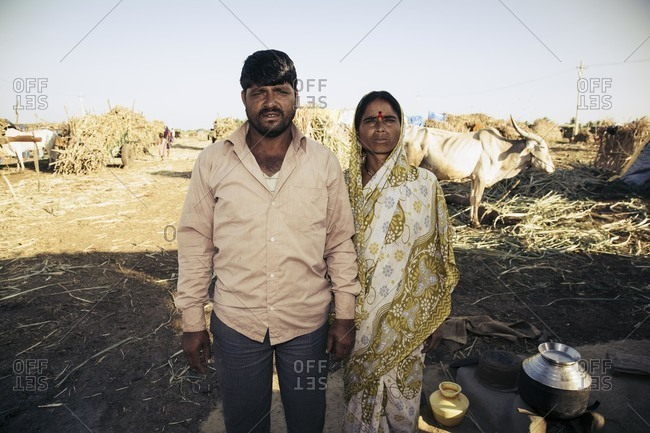 Bagalkot, Karnataka, India - December 1, 2014: Migrant sugarcane workers in India