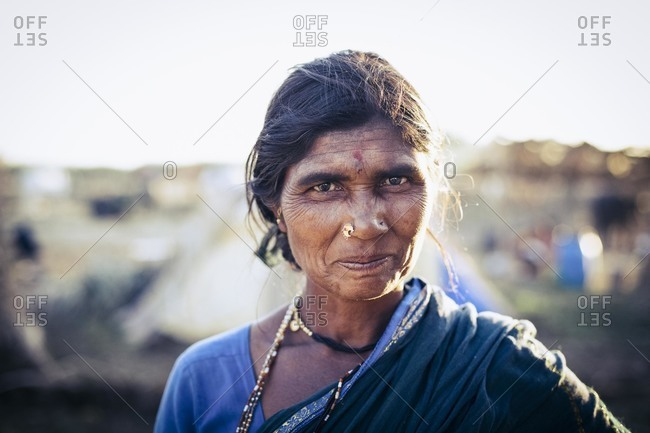 Bagalkot, Karnataka, India - December 1, 2014: Female migrant sugarcane worker, India
