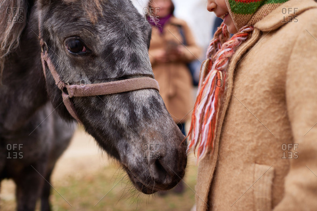 Girl in a winter overcoat standing next to small horse
