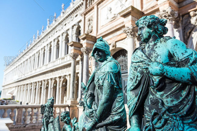 Venice, Italy - August 3, 2015: Sculptures on the bell tower gate at St Mark's Square in Venice, Italy