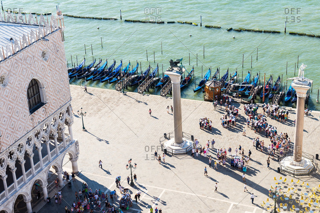 Venice, Italy - August 3, 2015: Gondolas in the Grand Canal by St Mark's Square in Venice, Italy