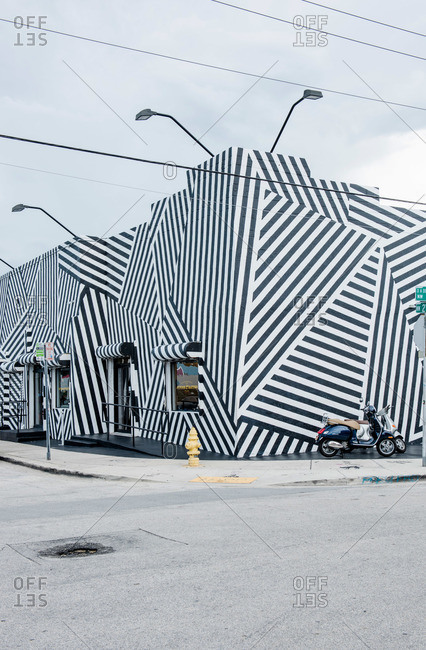 Miami, Florida, USA - September 25, 2015: Painted buildings in the Wynwood Arts District in Miami, Florida
