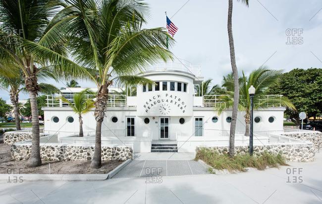 Miami, Florida, USA - September 27, 2015: Art-deco Beach Patrol Headquarters in Miami Beach, Florida