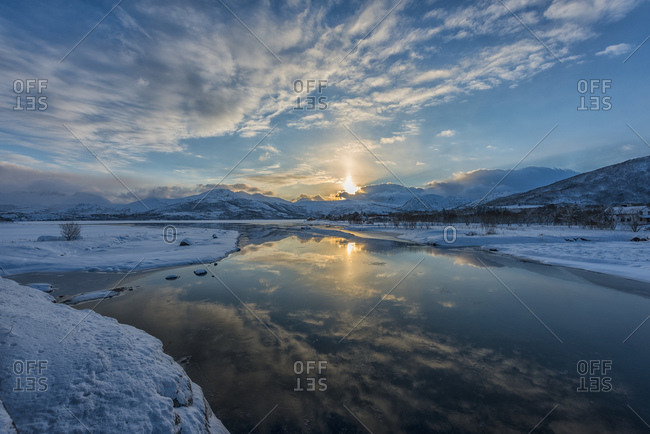 Fjord in winter at sunset, Norway