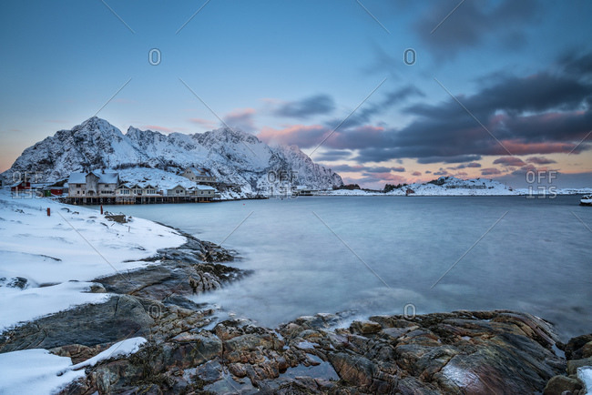 Henningsvajer town at sunset in winter, Lofoten Islands, Norway