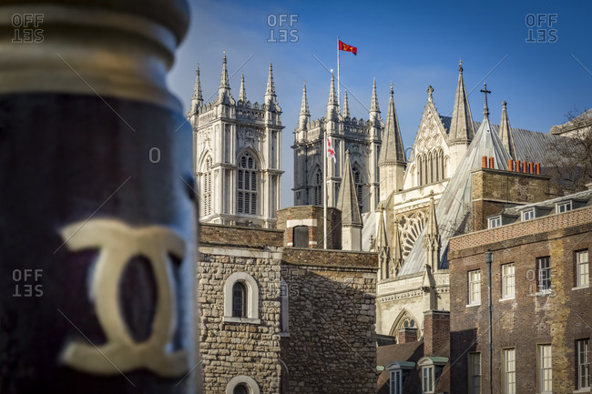 View to towers of Westminster Abbey from behind
