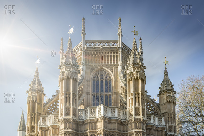 Back side of Westminster Abbey at sunlight