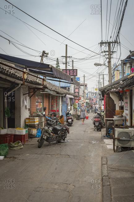 Shanghai, China - June 7, 2015: Back road of Qibao Ancient Town, Shanghai