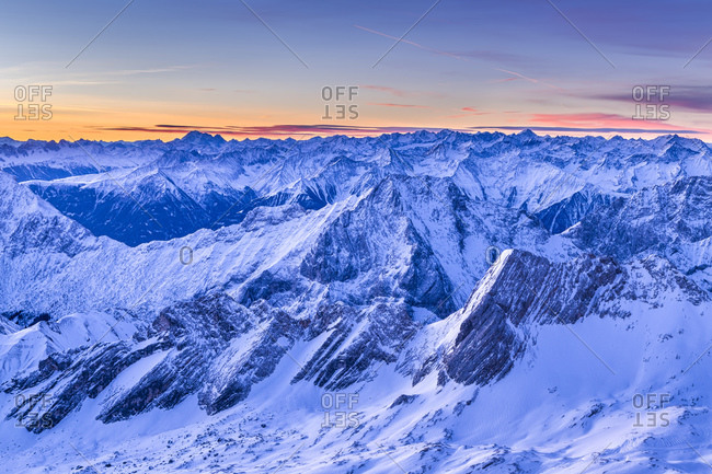 View towards Austria with Mieminger Range, sunrise on Zugspitze, sunrise on Zugspitze