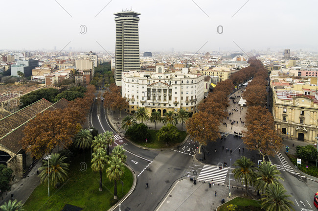 Cityscape as seen from Columbus column with Ramblas, Barcelona