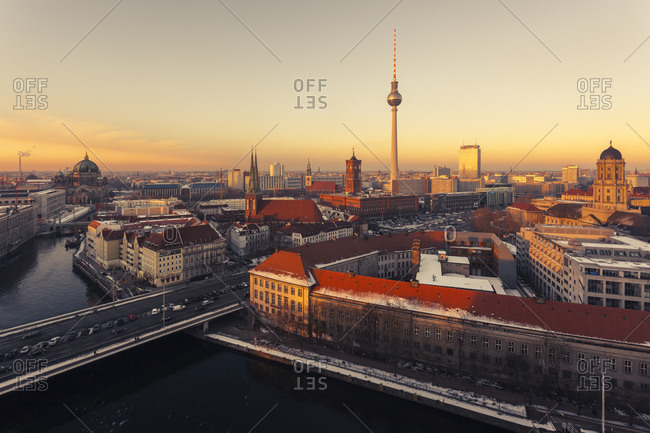 Cityscape at sunset, Berlin