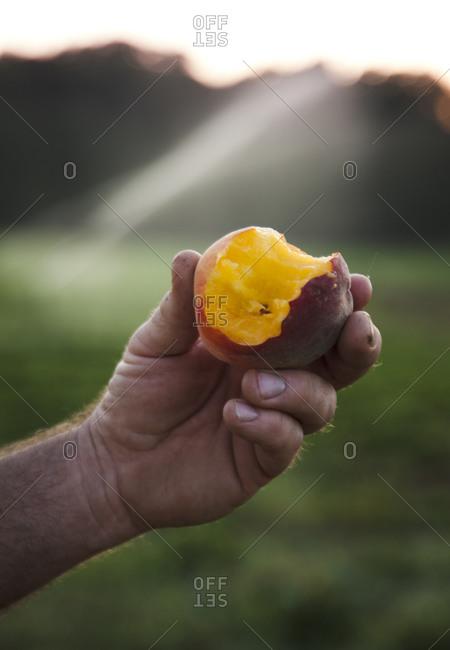 Man holding half eaten peach