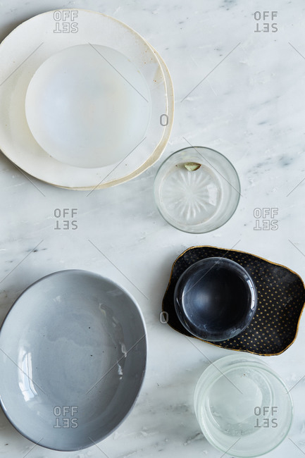 Variety of dishes on a marble surface