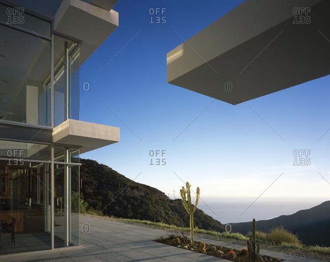 Malibu, California, USA - February 9, 2016: Cantilever features on modern house