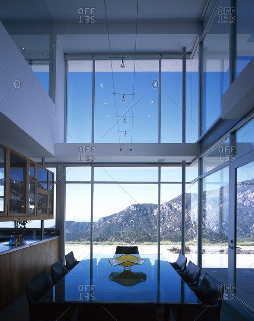 Malibu, California, USA - February 9, 2016: Modern dinging room, Malibu, California
