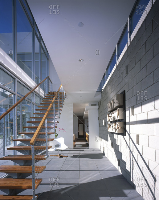 Malibu, California, USA - February 9, 2016: Hall and stairs in modern home