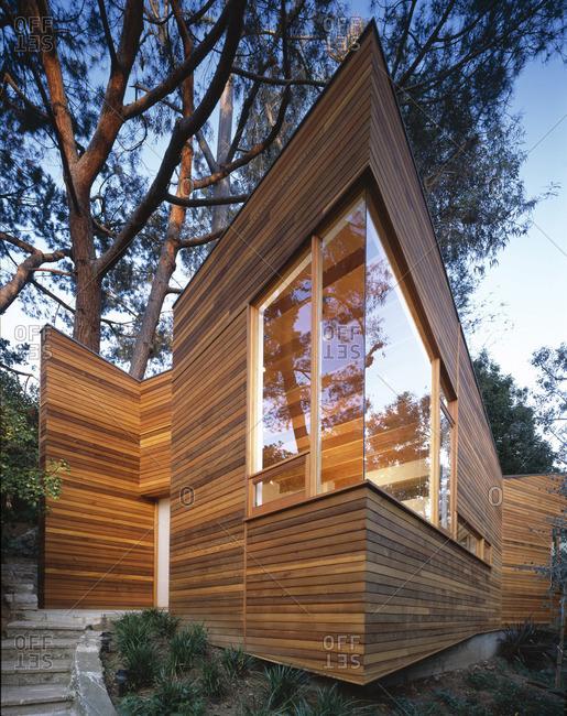 Brentwood, California, USA - February 9, 2016: Corner of a modern home exterior