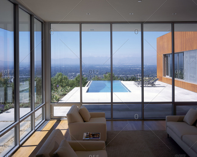 Los Angeles, California, USA - February 9, 2016: Living room with coastal views