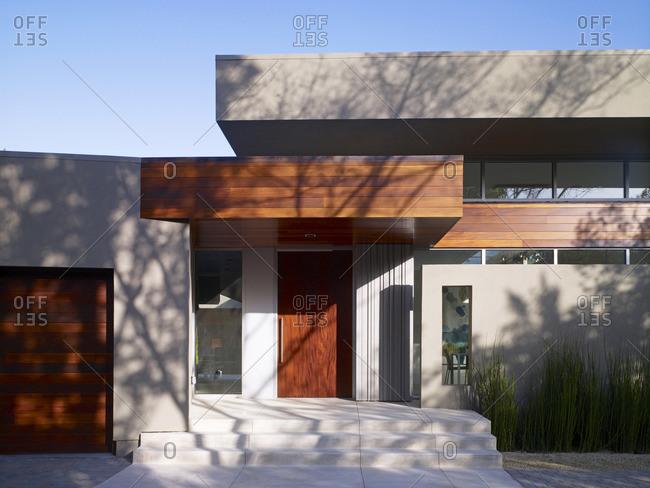 Menlo Park, California, USA - February 9, 2016: Entrance of a modern home