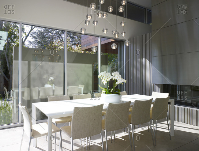 Menlo Park, California, USA - February 9, 2016: Dining table in modern home