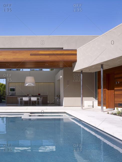 Menlo Park, California, USA - February 9, 2016: Swimming pool of modern home, California
