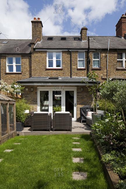 Tooting, London, England, USA - June 10, 2015: Backyard of home, Tooting, London
