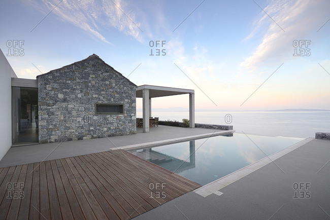 Exterior of modern home, Tyrou Argolida, Greece