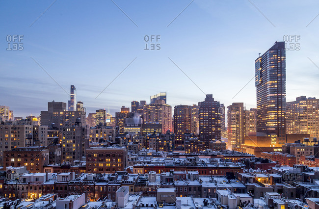 Midtown Manhattan at dusk in winter