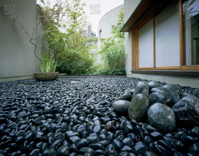 Courtyard garden with stones