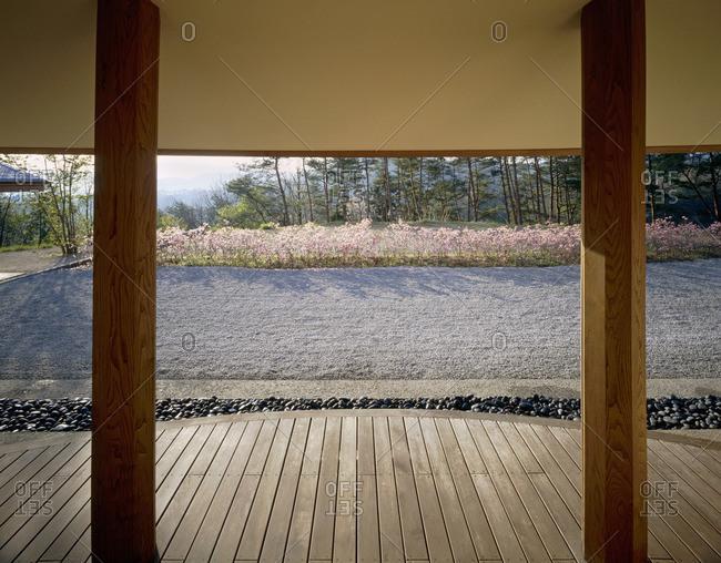 View through open doorway to deck