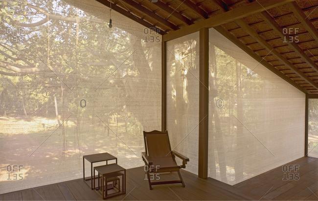 Furniture in screened in deck