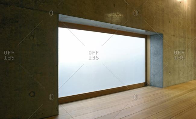 Closed sliding door in minimalist room