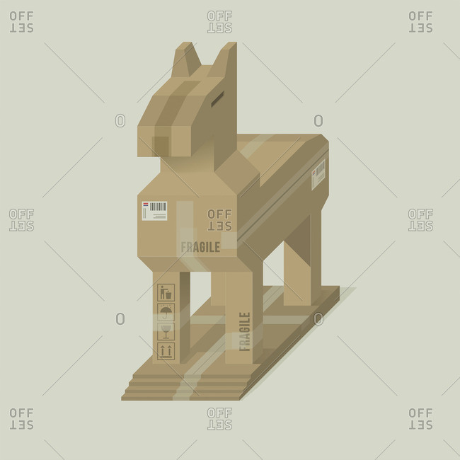Horse in a custom cardboard box
