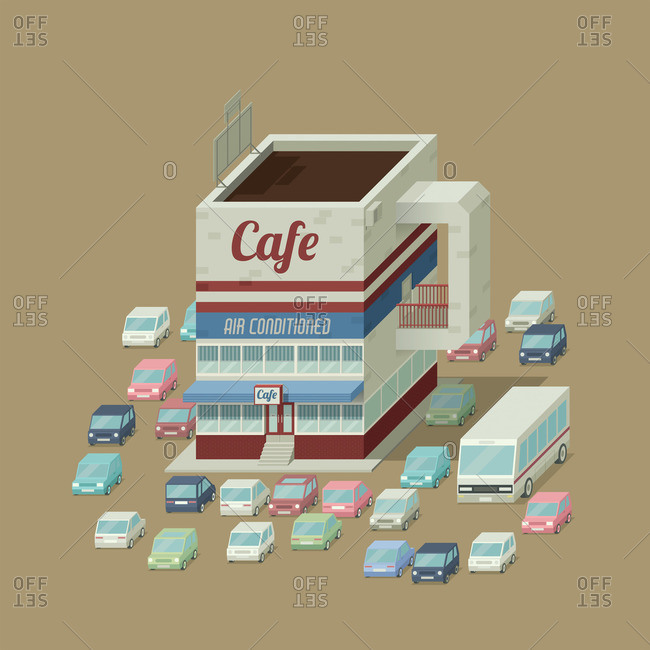 Cafe shaped like a cup of coffee